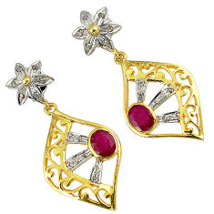 4.59cts victorian natural diamond red ruby 925 silver 14k gold earrings v1772