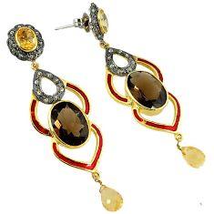31.45cts estate diamond smoky topaz citrine 925 silver 14k gold earrings v1774