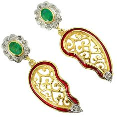 3.17cts estate natural diamond emerald enamel 925 silver 14k gold earrings v1775