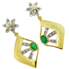 2.96cts estate natural diamond green emerald 925 silver 14k gold earrings v1776