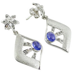 4.21cts vintage natural white diamond blue tanzanite 925 silver earrings v1778