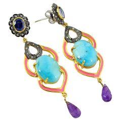 32.44cts vintage diamond blue larimar iolite 925 silver 14k gold earrings v1779