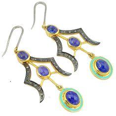 18.86cts estate diamond blue tanzanite enamel 925 silver gold earrings v1782