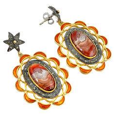 21.63cts estate diamond mexican laguna lace agate 925 silver gold earrings v1783