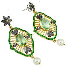 31.58cts vinatge diamond green amethyst enamel 925 silver gold earrings v1786