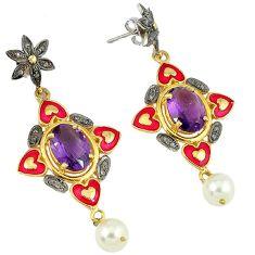 23.23cts estate natural diamond amethyst 925 silver gold dangle earrings v1787