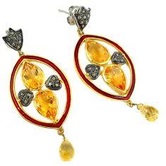 16.24cts estate natural diamond citrine enamel 925 silver gold earrings v1788