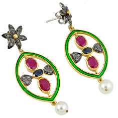 925 silver 15.14cts vintage diamond red ruby enamel gold dangle earrings v1790