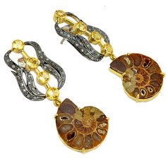 41.29cts victorian diamond brown ammonite fossil 925 silver gold earrings v1797