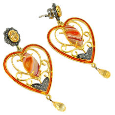 925 silver vintage diamond honey botswana agate enamel gold earrings v1800