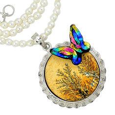Vintage diamond germany psilomelane dendrite 925 silver beads necklace v1484