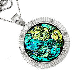 46.79cts estate diamond round dichroic glass 925 sterling silver necklace v1489