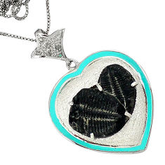 15.63cts estate natural diamond black trilobite enamel 925 silver necklace v1492