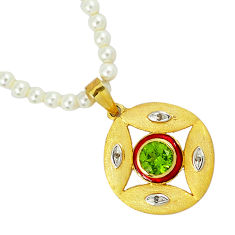 62.73cts vintage diamond peridot enamel 925 silver 14k gold beads necklace v1496