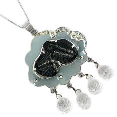 29.81cts vintage natural diamond black trilobite 925 silver necklace v1497
