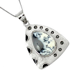 17.46cts estate diamond dendrite opal (merlinite) 925 silver necklace v1498
