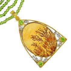 Victorian diamond germany psilomelane dendrite 925 silver beads necklace v1506