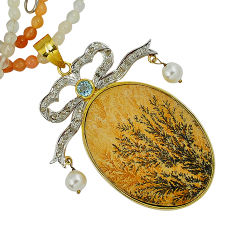 Vintage diamond germany psilomelane dendrite 925 silver beads necklace v1510