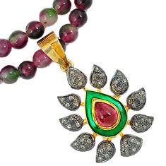 125.48cts estate diamond red tourmaline 925 silver 14k gold beads necklace v1514