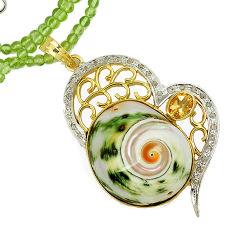 925 silver 93.60cts estate diamond turbo seashell gold beads necklace v1519