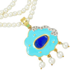 Estate diamond blue australian opal (lab) 925 silver gold beads necklace v1523
