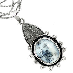 19.02cts estate diamond dendrite opal (merlinite) 925 silver necklace v1530