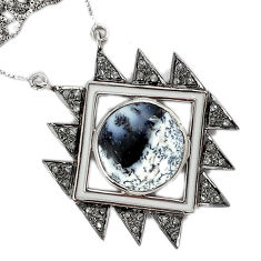 20.43cts estate diamond dendrite opal (merlinite) 925 silver necklace v1532