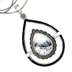 925 silver 17.35cts estate diamond dendrite opal (merlinite) necklace v1539