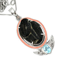 15.44cts vintage diamond black trilobite topaz enamel 925 silver necklace v1932