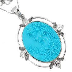 27.43cts estate natural diamond blue magnesite enamel 925 silver necklace v1934