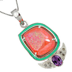 18.58cts estate diamond pink druzy amethyst enamel 925 silver necklace v1938
