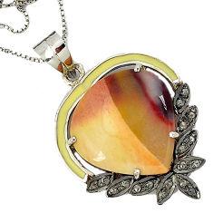 19.02cts vintage diamond brown imperial jasper 925 silver gold necklace v1939