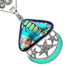 24.25cts vintage diamond multi color dichroic glass 925 silver necklace v1960