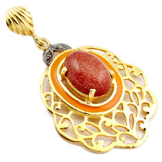925 silver 5.98cts natural diamond brown goldstone enamel 14k gold pendant v1002