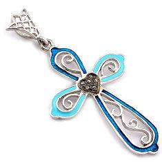 White diamond blue enamel 925 sterling silver 14k gold heart cross pendant v1007