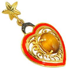 6.78cts natural diamond brown tiger's eye oval 925 silver 14k gold pendant v1011