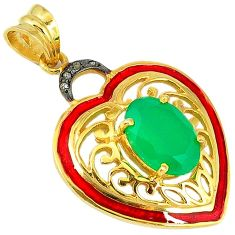 7.10cts natural diamond green chalcedony 925 silver 14k gold heart pendant v1016
