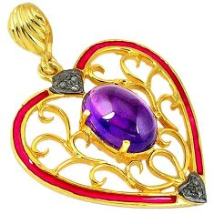 6.36cts natural diamond purple amethyst 925 silver 14k gold heart pendant v1017