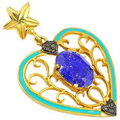 6.41cts natural diamond blue lapis blue enamel 925 silver 14k gold pendant v1018