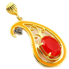 6.08cts handmade natural diamond honey onyx enamel 925 silver gold pendant v1022