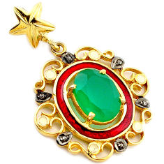 925 silver 6.31cts natural diamond green chalcedony enamel gold pendant v1024