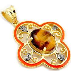 6.78cts natural diamond brown tiger's eye enamel 925 silver gold pendant v1026