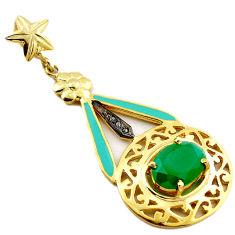 6.51cts fine natural diamond green chalcedony 925 silver 14k gold pendant v1028