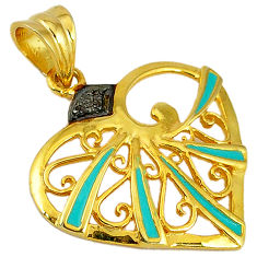 White diamond blue enamel 925 sterling silver gold heart pendant jewelry v1035