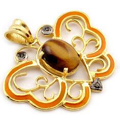 6.51cts natural white diamond brown tiger's eye 925 silver gold pendant v1048