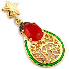 6.92cts natural diamond honey onyx green enamel 925 silver gold pendant v1051