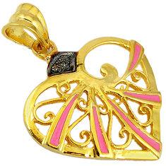 White diamond pink enamel 925 sterling silver gold heart pendant jewelry v1054
