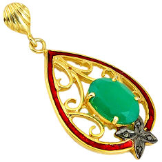 925 silver 6.88cts natural diamond green chalcedony enamel gold pendant v1055