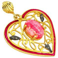 Diamond pink rhodochrosite inca rose (argentina) 925 silver gold pendant v1058
