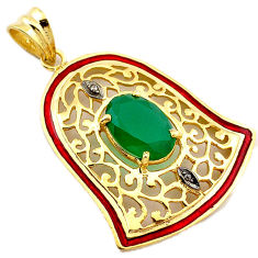 6.91cts diamond green chalcedony enamel 925 silver gold bell pendant v1065